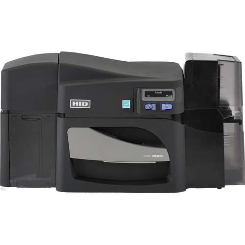 Fargo DTC4500e Single-Sided ID Card Printer with ISO Magnetic Stripe Encoder & Locking Hoppers