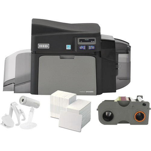 Fargo DTC4250e Single-Sided Printer with Webcam, Full-Color Ribbon, and 300 PVC Cards