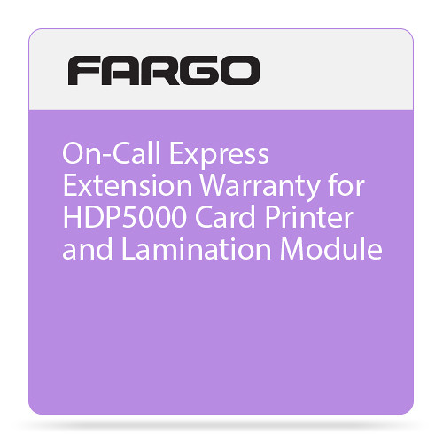 Fargo 2nd Year On-Call Express Extension Warranty for HDP5000 Card Printer and Lamination Module