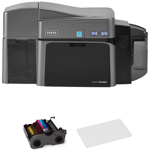 Fargo DTC1250e Dual-Sided ID Card Printer with YMCKO Ribbon and 500 Cards Kit