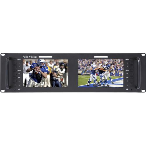 "FeelWorld D71-H Dual 7"" 3 RU Rackmount HDMI LCD Monitor"