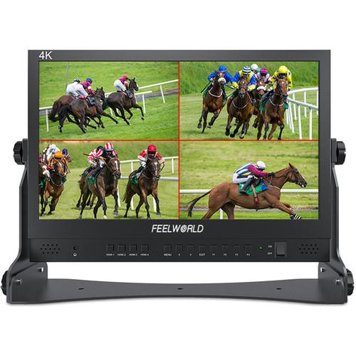 """FeelWorld ATEM156 4K 15.6"""" Quad-Split Monitor with 4 x HDMI I/O for Switchers"""