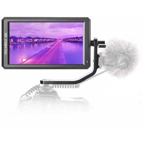 "FeelWorld 5.7"" IPS 4K HDMI On-Camera Monitor with Tilt Arm"