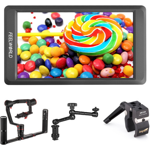 Feiyu A2000 3-Axis Handheld Gimbal Kit with 2-Hand Holder, Monitor, and Arm