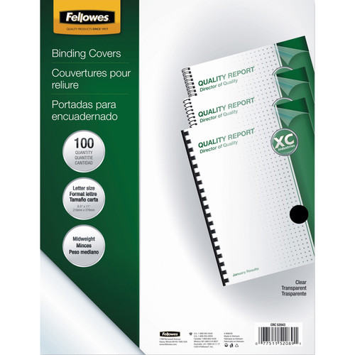Fellowes Crystals Clear PVC Binding Covers (Letter, 100-Pack)