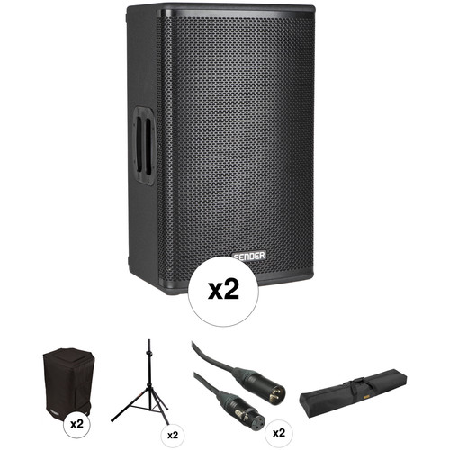 Fender Fortis F-12BT Portable PA System Kit with Speaker Stands and Protective Bags