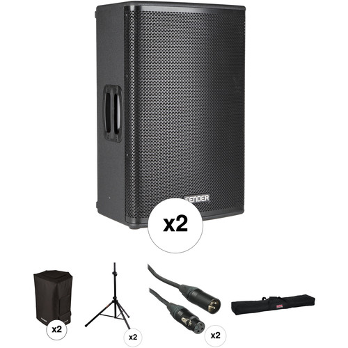 Fender Fortis F-15BT Portable PA System Kit with Speaker Stands and Protective Bags