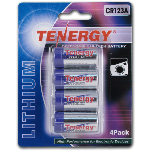 Fenix Flashlight Tenergy CR123A Lithium Propel Batteries (3V, 1400mAh) - 4-Pack