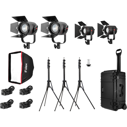 Fiilex K411PP 4-Light Travel Kit with Two P360 Pro Plus and Two P180E LED Lights