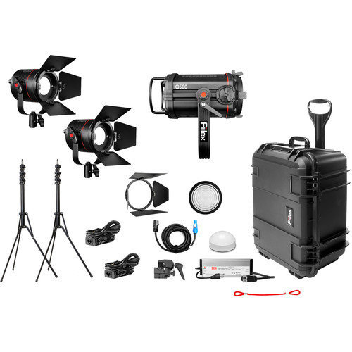 Fiilex X312 1-Q500-DC 2-P360 Pro Plus 3-Light LED Gaffer's Interview Kit