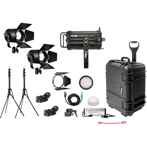Fiilex X314 1-Q1000-DC 2-P360 Pro Plus 3-Light LED Gaffer's Interview Kit