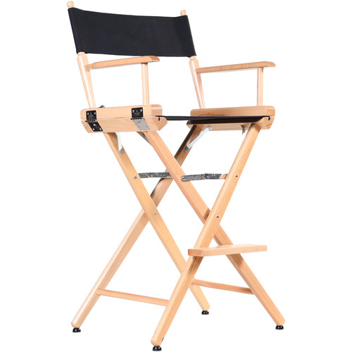 """Filmcraft Pro Series Tall Director's Chair (30"""", Natural Frame, Black Canvas)"""