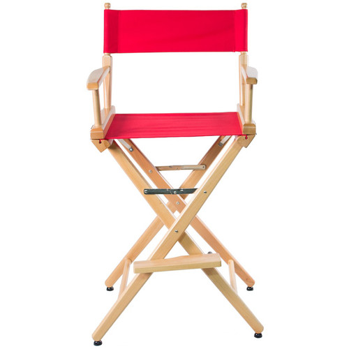 """Filmcraft Pro Series Tall Director's Chair (30"""", Natural Frame, Red Canvas)"""
