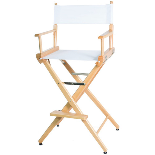 """Filmcraft Pro Series Tall Director's Chair (30"""", Natural Frame, White Canvas)"""