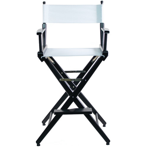 """Filmcraft Pro Series Tall Director's Chair (30"""", Black Frame, White Canvas)"""