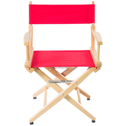 """Filmcraft Pro Series Short Director's Chair (18"""", Natural Frame, Red Canvas)"""