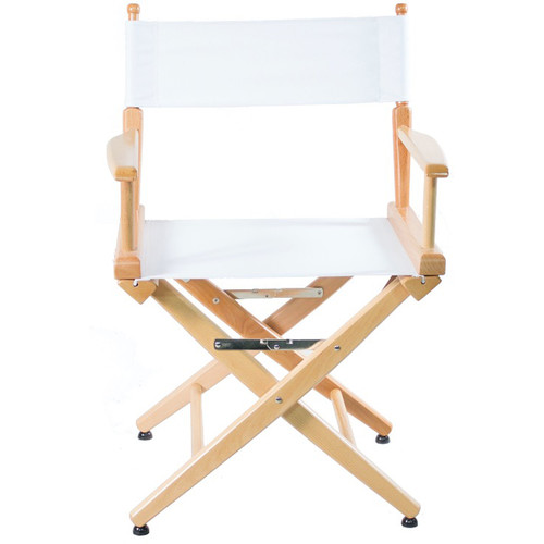 """Filmcraft Pro Series Short Director's Chair (18"""", Natural Frame, White Canvas)"""