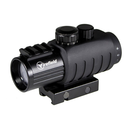 Firefield 3x30 Prismatic Sight with Red-Black Circle Dot Reticle, Lens Converter