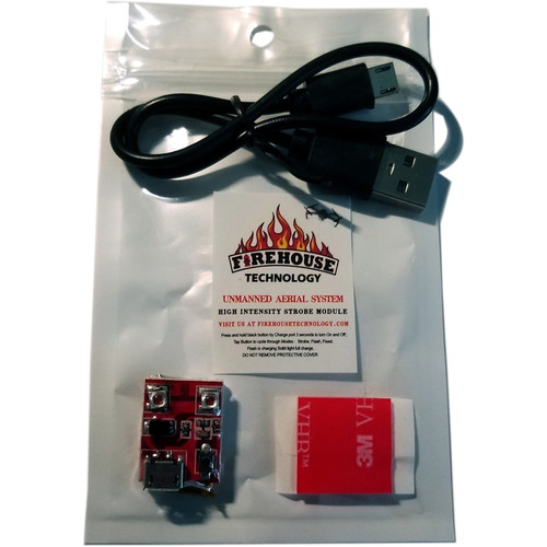 Firehouse Technology High Output Strobe For Uas. 3 Modes, 2 Hour Run Time, Rechargeable, FAA 107 Compliant (Red)