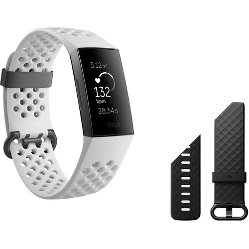 Fitbit Charge 3 Fitness Wristband (Special Edition, Frost White Sport/Graphite Aluminum)