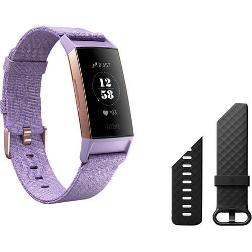 Fitbit Charge 3 Fitness Wristband (Special Edition, Lavender Woven/Rose Gold Aluminum)