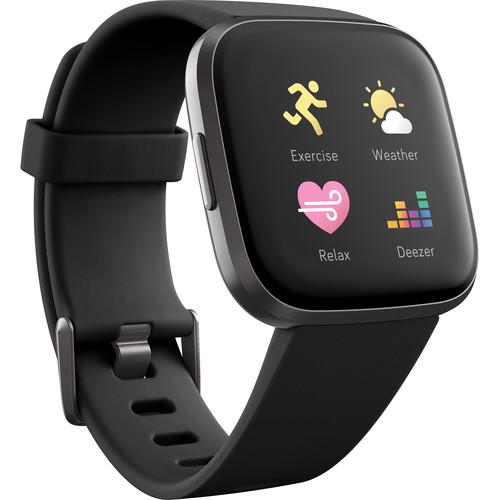 Fitbit Versa 2 Health & Fitness Smartwatch (Black / Carbon Aluminum)