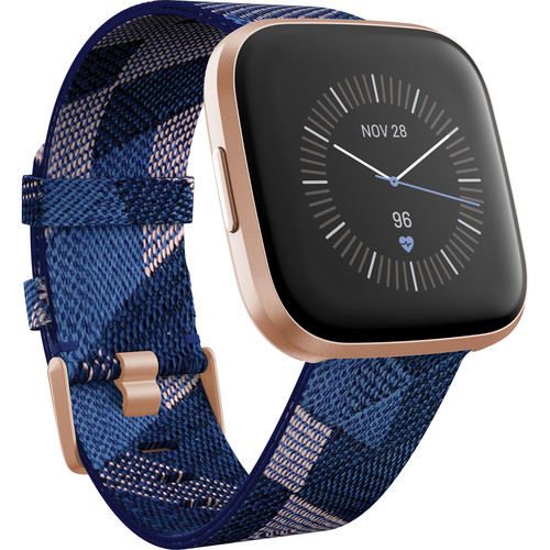 Fitbit Versa 2 Special Edition Health & Fitness Smartwatch (Navy & Pink Woven / Copper Rose Aluminum)