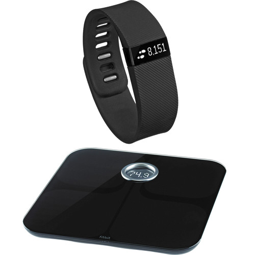 Fitbit Charge Activity + Sleep Wristband with Aria Wi-Fi Smart Scale Kit (Large, Black)