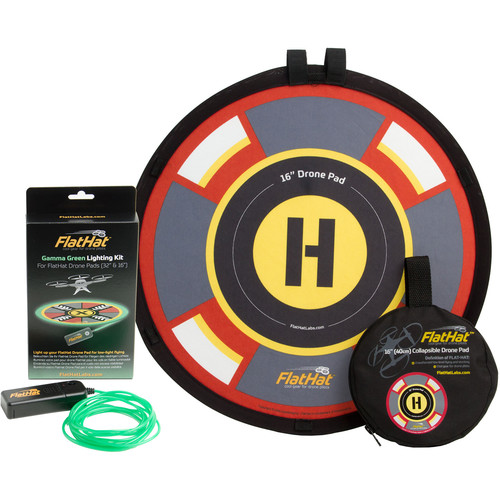 """FlatHat 16"""" Drone Landing Pad With Lighting Kit (Green)"""