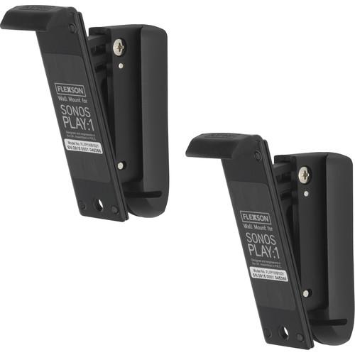FLEXSON Wall Mount for Sonos PLAY:1 Speaker (Black, Pair)