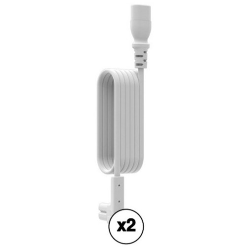 FLEXSON Kit of Right-Angle Power Cord Extensions for Sonos PLAY:1 and 1st Generation PLAY:5 (Pair, White, 9.84')