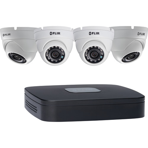 FLIR DN1142E43 4-Channel 5MP NVR with 2TB HDD and 4 3MP Outdoor Turret Cameras