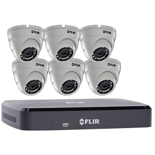 FLIR DNR110 Series 8-Channel NVR with 1TB HDD and 6 3MP Outdoor Night Vision Dome Cameras