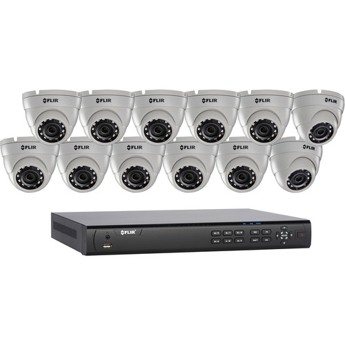 FLIR DN4163E12 16-Channel 4MP PoE+ NVR with 3TB HDD & 12 4MP Outdoor Turret Cameras