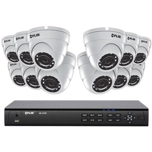 FLIR 16-Channel 4K 4TB NVR with 12 Outdoor Night Vision Dome Cameras