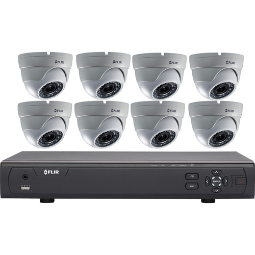 FLIR MPX 3100 Series 8-Channel DVR with 2TB HDD and 8 Dome Cameras