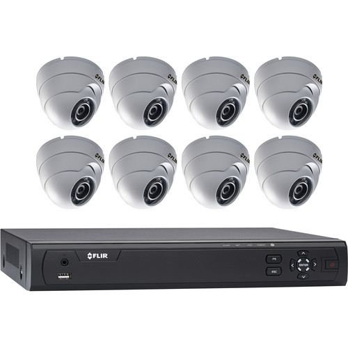 FLIR MPX M3100E Series HD-CVI 8-Channel DVR with 3TB HDD & 4 Weather-Resistant IR Dome Cameras