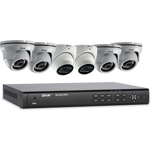 FLIR 8-Channel 4K UHD Analog DVR with 3TB HDD, 2 4K Dome Cameras & 4 4MP Dome Cameras