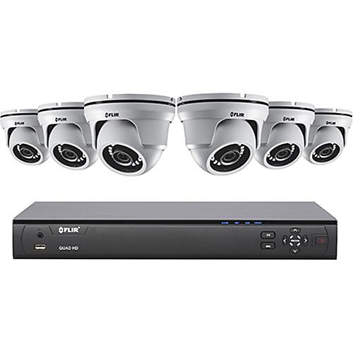 FLIR MPX Series M5108364 8-Channel 4MP DVR with 3TB HDD and 6 4MP Outdoor HD-CVI Dome Cameras