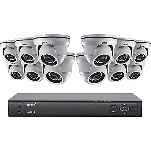 FLIR MPX Series M51164124 16-Channel 4MP DVR with 4TB HDD and 12 4MP Outdoor HD-CVI Dome Cameras