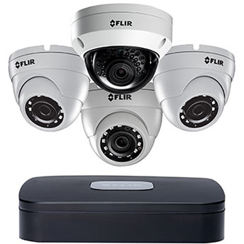 FLIR DNR210 Series 4-Channel 8MP NVR with 1 N253V8 4K 1 8MP & 3 3MP Outdoor Dome Cameras