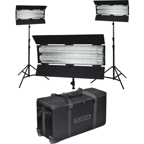 Flolight FL-110HM 3-Head Daylight Fluorescent Kit with Stands and Rolling Case
