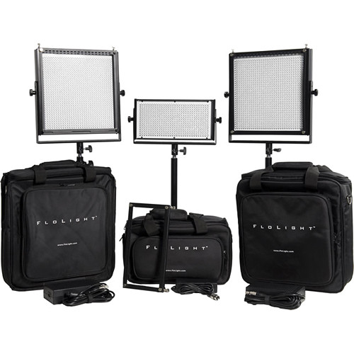 Flolight MicroBeam 2- 1024 / 1- 512 Three Light LED Video Kit with V-Mount Battery Plates