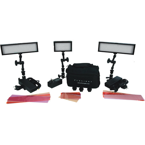 Flolight Rugged, Compact 3 Point LED Lighting Kit with MicroBeam 128 & Two MicroBeam 256 Daylights