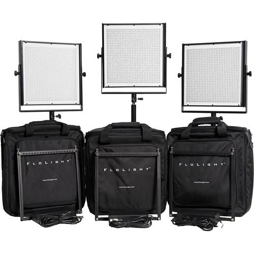 Flolight 3x MicroBeam 1024 Daylight LED Video Lighting Kit