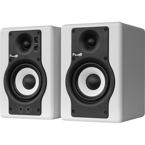 "Fluid Audio F4 - 30W 4"" Two-Way Active Studio Reference Monitors (Pair, White)"
