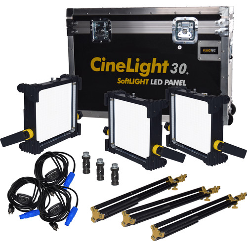 Fluotec CineLight Production 30 Tunable SoftLIGHT LED Panel 3-Light Kit (GoldMount Battery Plate and AC Power)