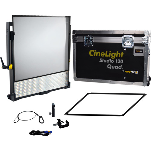 Fluotec Cinelight Studio120 Quad Diffusion Tunable Led 266W Panel Kit With Yoke  And Flight Case