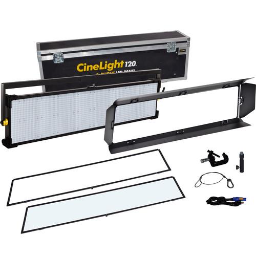 Fluotec Cinelight Studio 120 Interchangeable Diff Tunable 266w Led Panel Kit W/Yoke Mount And Flight Case