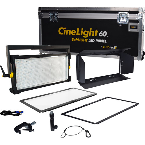 Fluotec Cinelight Studio 60  Interchange Diff Tunable 133w Led Panel 1-Light Kit With Yoke And Flight Case
